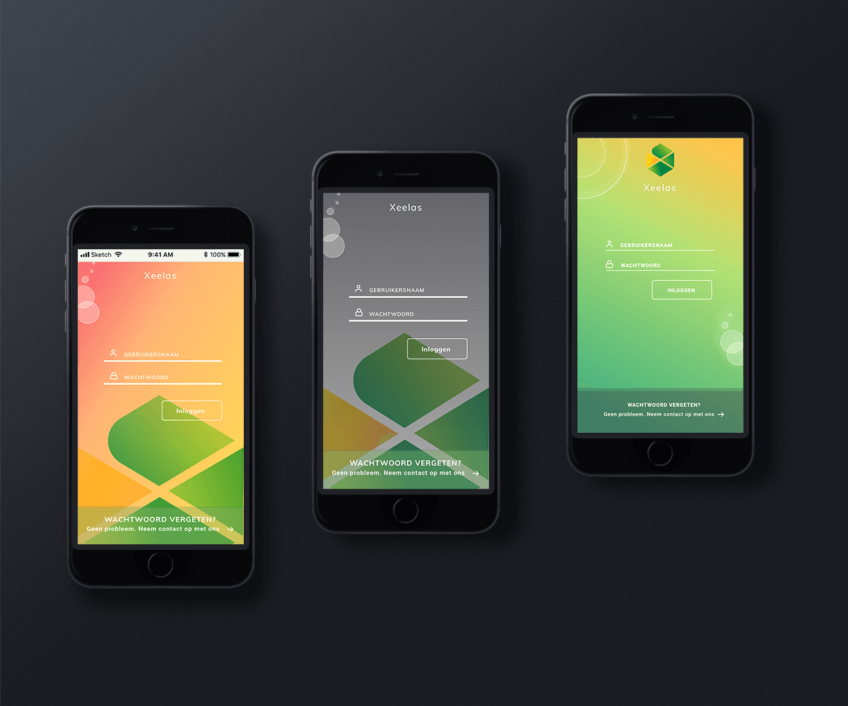 Three mockups of login screens